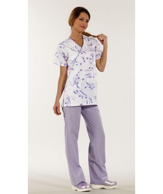 Дамски медицински комплект с къс ръкав - лилав