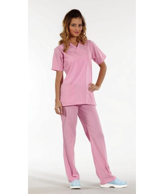 Унисекс хирургически медицински комплект с къс ръкав - розов