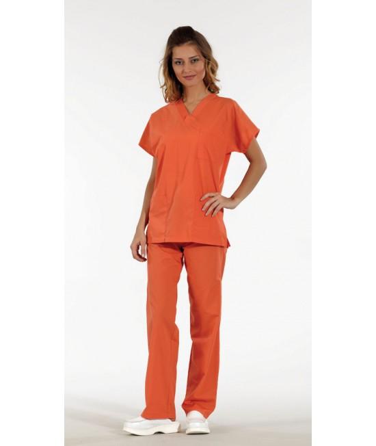 Унисекс хирургически медицински комплект с къс ръкав - оранжев