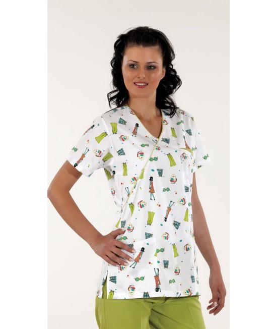 Дамски медицински комплект с къс ръкав - зелен