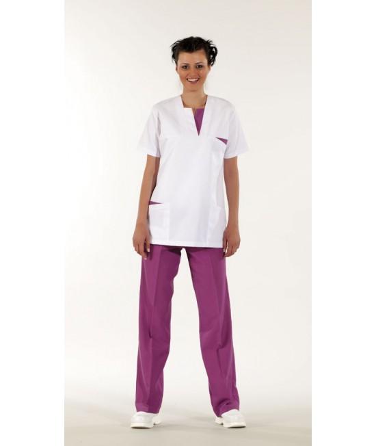 Дамски медицински комплект с къс ръкав - бяло/бордо