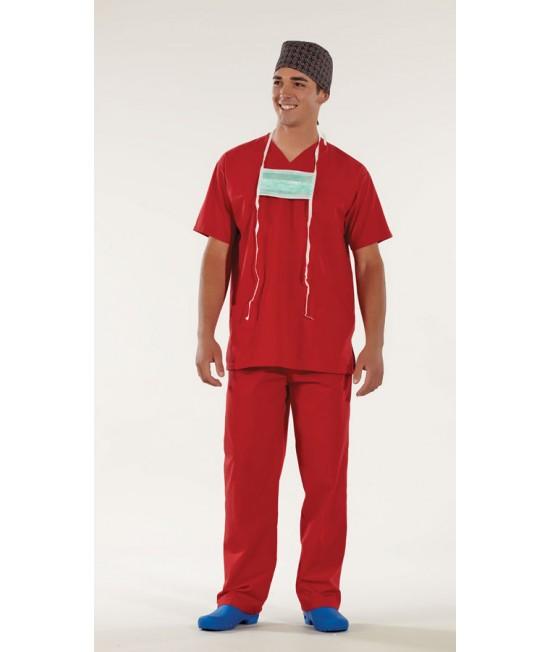 Унисекс хирургически медицински комплект с къс ръкав - червен