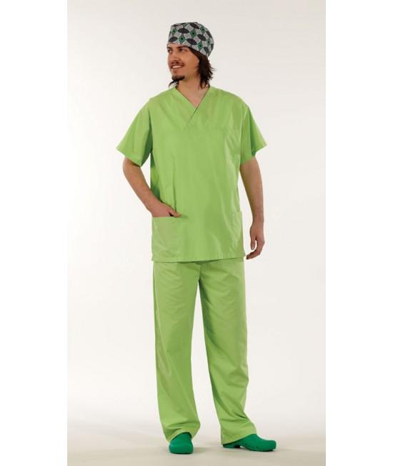 Унисекс хирургически медицински комплект с къс ръкав - светло зелен