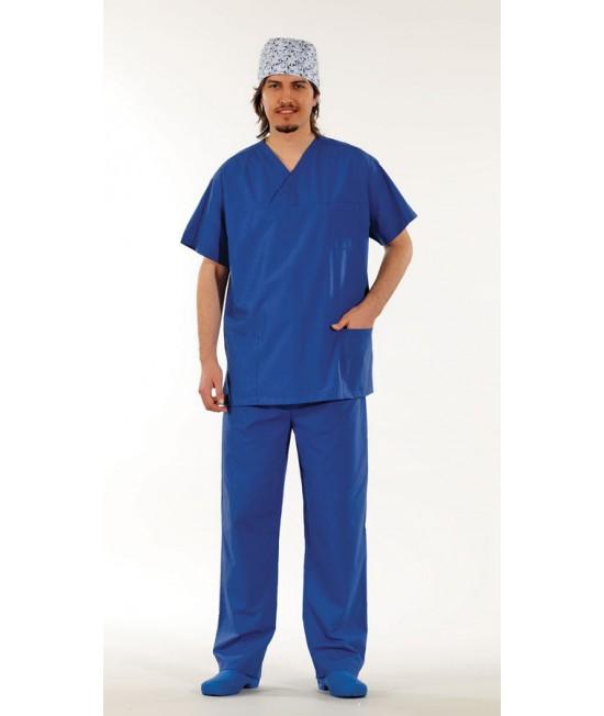 Унисекс хирургически медицински комплект с къс ръкав - син