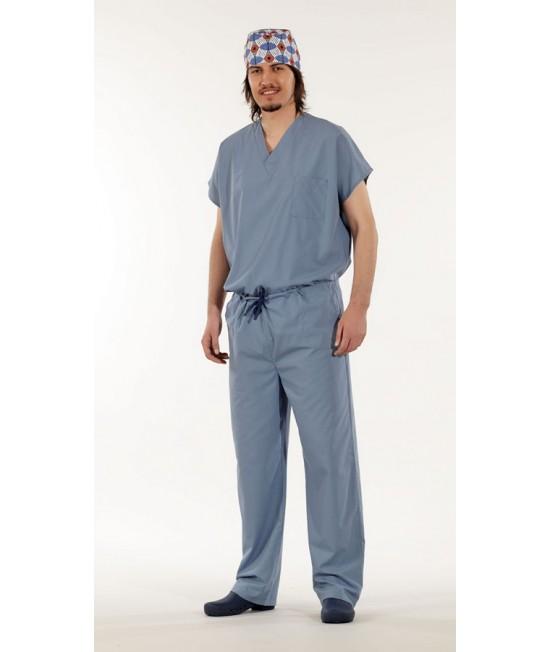 Унисекс хирургически медицински комплект с къс ръкав - сив