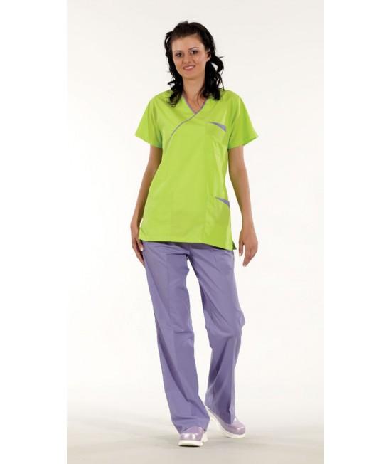 Дамски медицински комплект с къс ръкав - зелен/лилав